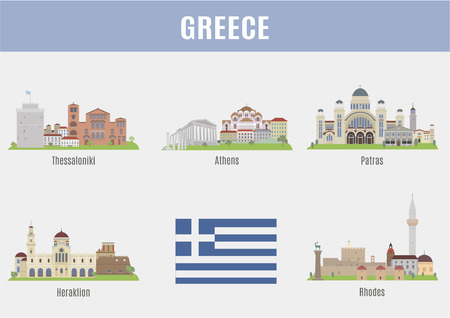Städte in Griechenland. Berühmte Sehenswürdigkeiten der größten griechischen Städten Vektorgrafik