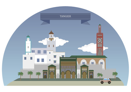 house illustration: Tangier, Morocco. Major city in northern Morocco