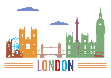 famous: 倫敦的天際線。著名建築的剪影有色
