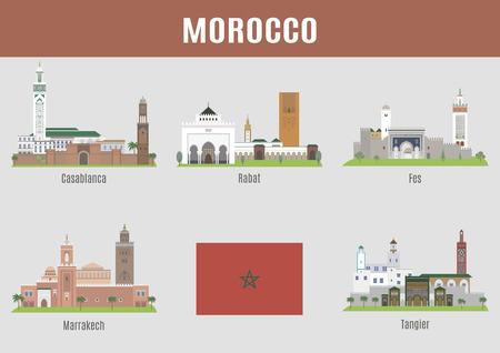 Ciudades de Marruecos. Los principales lugares y edificios famosos Foto de archivo - 42807696