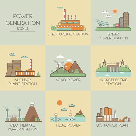 solar power station: Power generation. Set icons