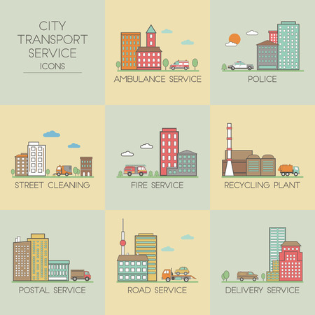 transport icons: City transport service. Set  icons