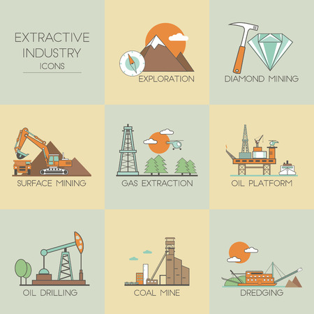 industry icons: Extractive industry. Set icons