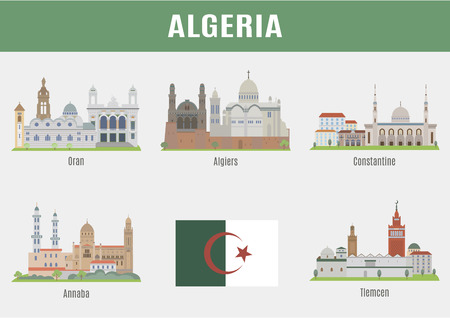 Cities in Algeria.  Famous Places Algerian cities Illustration