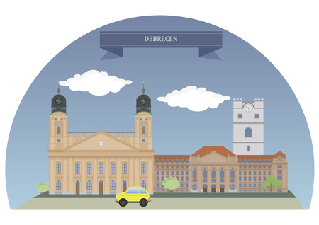 largest: Debrecen,second largest city in Hungary after Budapest Illustration