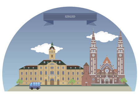 largest: Szeged, is the third largest city of Hungary Illustration