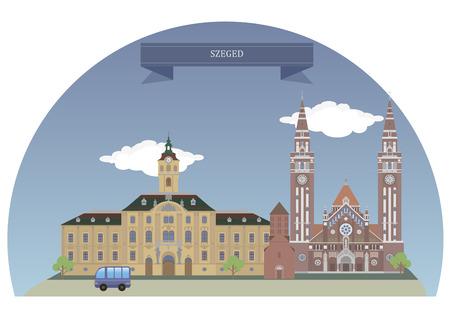 szeged: Szeged, is the third largest city of Hungary Illustration