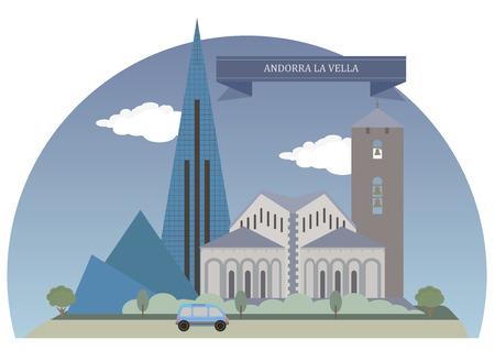 andorra: Andorra la Vella,  capital of the Principality of Andorra Illustration