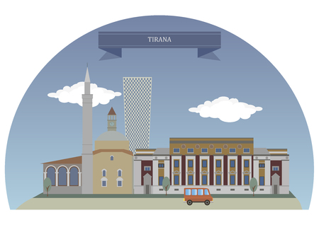 largest: Tirana, capital and largest city of Albania Illustration