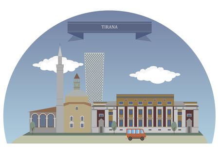 largest: Tirana, capital and largest city of Albania Illustration