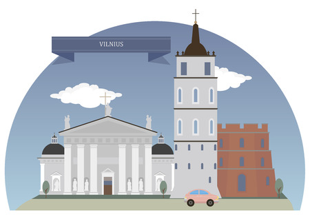 largest: Vilnius,  capital of Lithuania and its largest city Illustration