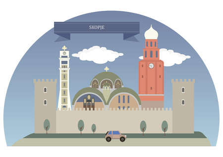 urban area: Skopje, capital and largest city of the Republic of Macedonia. Illustration