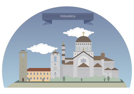 largest: Podgorica, capital and largest city of Montenegro Illustration