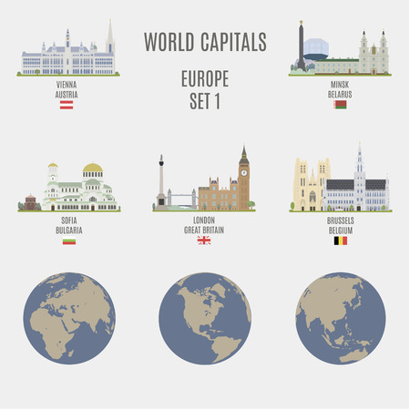 World capitals. Famous places of European cities Иллюстрация
