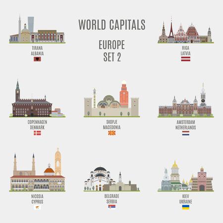 세계의 수도. 유럽 도시의 유명한 장소 일러스트