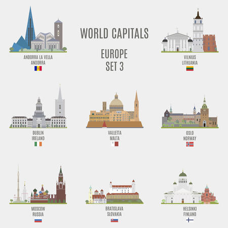 World capitals.Famous places of European cities Illustration