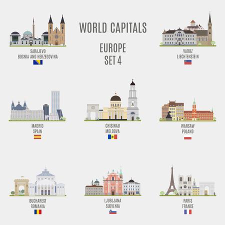 世界の首都。ヨーロッパの都市の有名な場所  イラスト・ベクター素材
