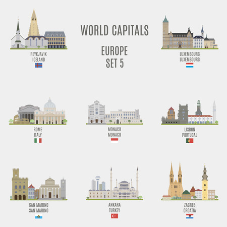 World capitals.Famous places of European cities Vettoriali