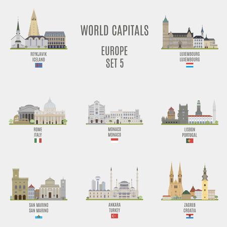 Wereld capitals.Famous plaatsen van de Europese steden