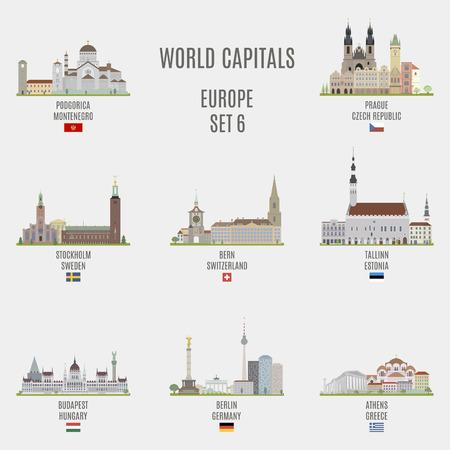 famous places: World capitals. Famous places of European cities Illustration