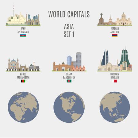 bandera: Capitales del mundo. Lugares famosos de Asia Ciudades