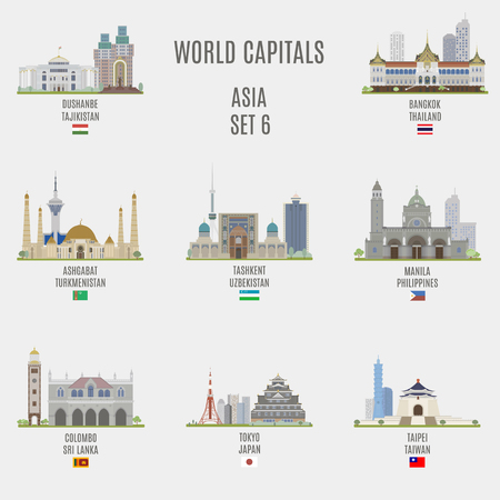 World capitals. Famous Places Asian Cities
