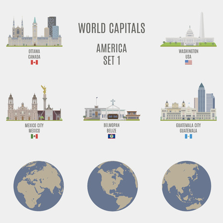 famous places: World capitals. Famous Places of American cities Illustration