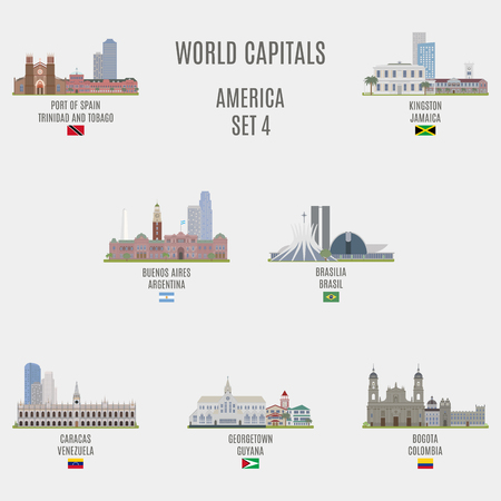 american cities: World capitals. Famous Places of American cities Illustration