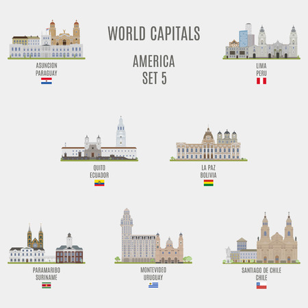 ecuador: World capitals. Famous Places of American cities Illustration