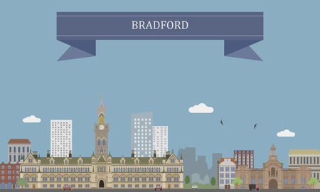 City of Bradford in West Yorkshire, England Illustration