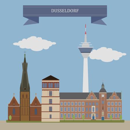 Dusseldorf, capital city of the German state of North Rhine-Westphalia Illustration
