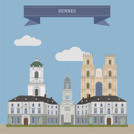 brittany: Rennes, city in the east of Brittany in northwestern France Illustration