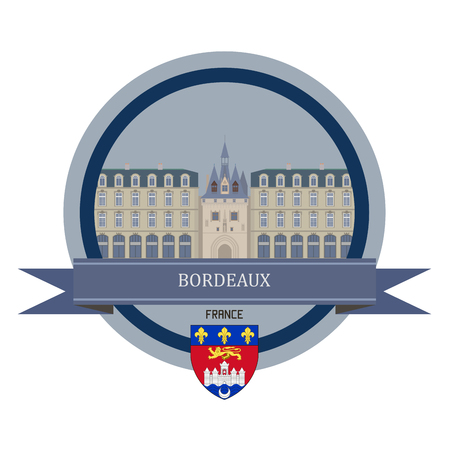 Bordeaux symbol at the round banner Illustration