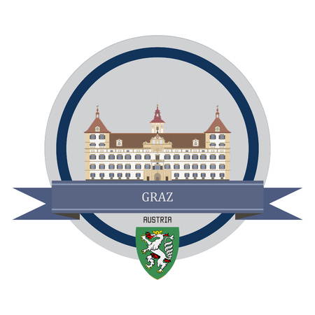 vintage landscape: Graz symbol at the round banner