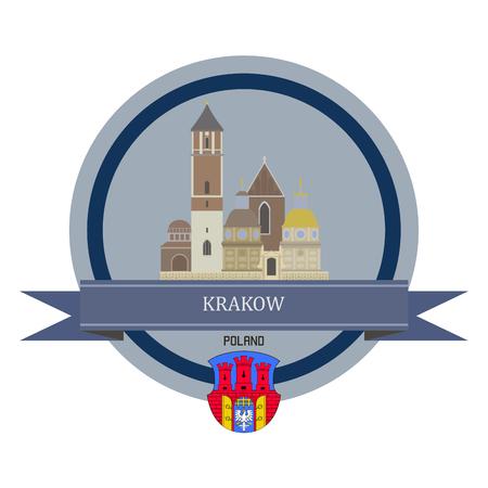 krakow: Krakow symbol at the round banner