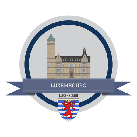 old town: Luxembourg symbol at the round banner