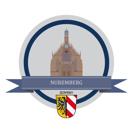 old city: Nuremberg symbol at the round banner Illustration