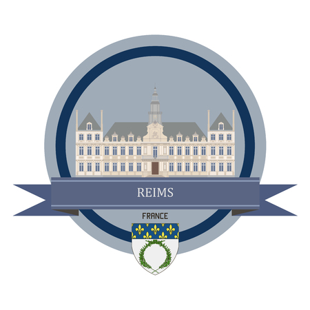 reims: Reims symbol at the round banner Illustration