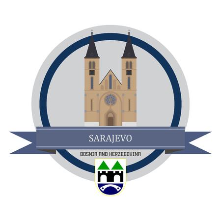 sarajevo: Sarajevo symbol at the round banner