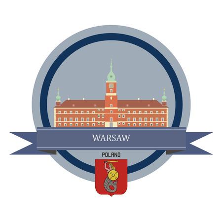poland: Warsaw symbol at the round banner