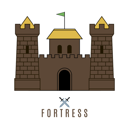 fort: Castle icon. Flat style