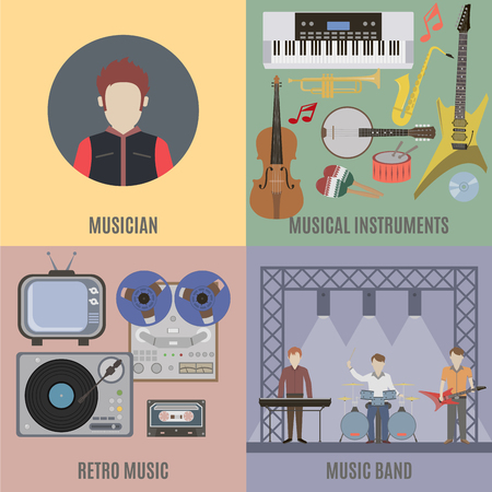 band: Music band and musical instruments. Flat isolated vector illustration