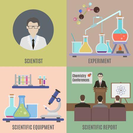 scientific experiment: Scientific experiment and equipment. Flat isolated vector illustration