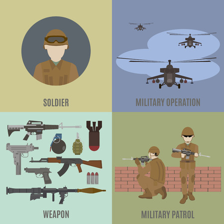 Armed conflict. Attack from the air and patrolling. Flat isolated vector illustration