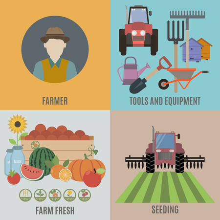 hillbilly: Farming and Organic Food. Flat isolated vector illustration Illustration