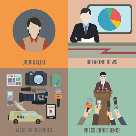 journalism: Journalism and the breaking news. Flat isolated vector illustration