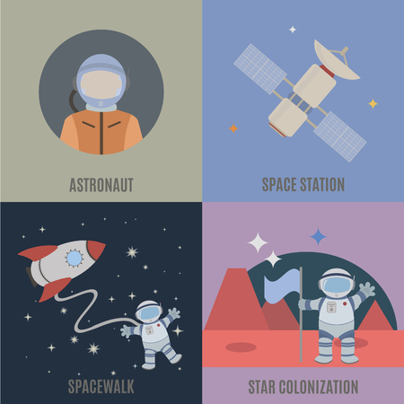 colonization: Space and colonization of planets. Flat isolated vector illustration