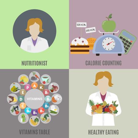 manger diététiste et en bonne santé. Flat isolé illustration vectorielle Vecteurs