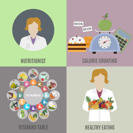 Dietitian and healthy eating. Flat isolated vector illustration Illustration