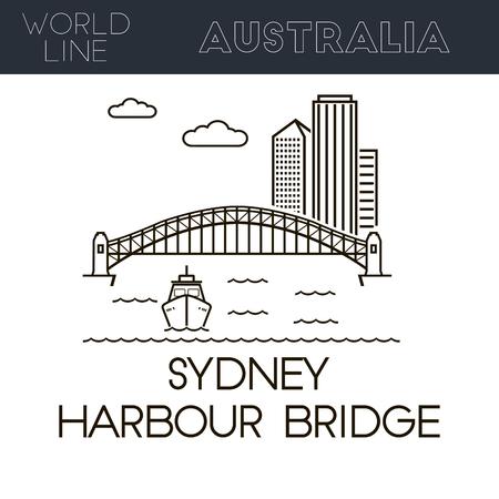 famous place: Sydney Harbour Bridge, Australia famous place. Line style